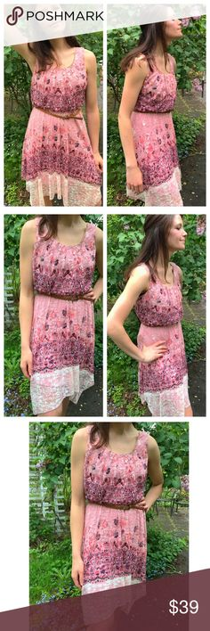 💥FLASH-SALE💥❤️ Rose Pink Dress ‼️🌻💥❤️New Arrival by Delilah Wear Collection. Lace Floral Dress with flower print! Lace detailed. Woven brown belt in waist line. Super pretty. Rose pink. Trendy summer womens fashion dress. Great for weddings, formal, cocktail, bridal showers, parties, work, etc. size medium ❌No Trades ❌Price Firm dress size 6-10 bust size 34-38 Delilah Wear Collection Dresses Midi