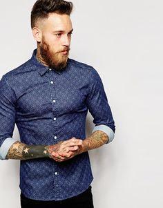 Camisa entallada de manga larga con estampado de espirógrafo de ASOS