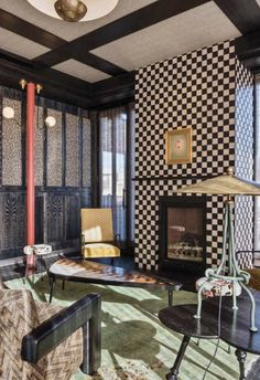 There is a joy in designing a space without limitations and restrictions, where excess is encouraged and unlikely pairings create beautiful and unexpected harmonies. Cafe Interior, Interior Exterior, Design A Space, House Design, Design Design, Showroom, Damier, Fireplace Design, Modern Fireplace