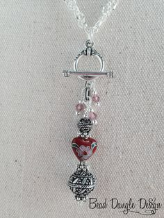 Cloissone' Red, Pink and Green Heart Beaded Dangle Necklace