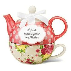 """I Smile Because You're My Mother"" Tea for One Set Set includes stacked tea cup, teapot and lid."