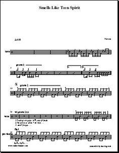 Sheet - Drums - Nirvana - Smells Like Teen Spirit http://www.onlinedrummer.com/pdf.php?id=1910