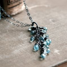 blue zircon and oxidized sterling