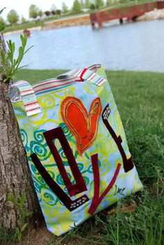 Shoulder Bag, Love, Hand painted Canvas Tote, Heart Novelty by MixeDesigns #new #collection #shopping