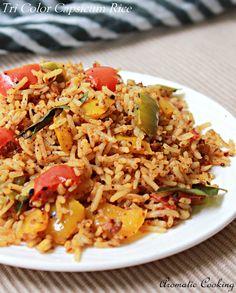 Aromatic Cooking: Tri Color Capsicum Rice