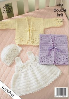 Crochet baby cardigan, waistcoat, Pinafore Dress and Hat - King Cole