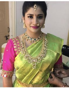 Kasu embellished blouse designs for silk saree Half Saree Designs, Sari Blouse Designs, Bridal Blouse Designs, Dress Designs, Mode Bollywood, Indian Bridal Fashion, South Indian Bride, Indian Designer Wear, Varanasi