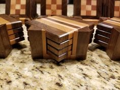 First attempt at coasters Wooden Coasters, Custom Coasters, Wooden Kitchen, Kitchen Ware, How To Make Drinks, Got Wood, Fine Woodworking, Woodworking Ideas, Drink Coasters