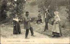Postcard Types d'Auvergne, La Bourrée, Französischer Bauerntanz, Levy et Fils