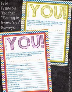 Free Printable Teacher Surveys to make teacher-gift giving super fun and easy this year!