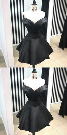 Cute Homecoming Dress,Black Homecoming Dress,Off Shoulder Satin Homecoming Dress,Pleated Short Prom Dress