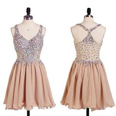 A-line V-neck Beaded Bodice Champagne Chiffon Homecoming Dresses - SheerGirl