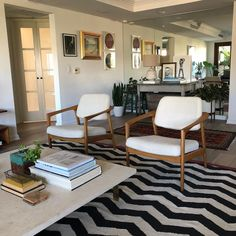 """400 Likes, 4 Comments - MIDCENTURYLA (@midcenturyla) on Instagram: """"Pair of oak #FolkeOhlsson chairs by #Dux, reupholstered and in their new home - thank you @madrid73…"""""""