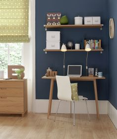 Studying the Blues                                        A few key pieces (desk, chair, floating shelves) can transform a quiet sleeping space into an efficient work area. If space permits, try and keep the zones distinct from one another by setting the work area away from the bed. The trick is making sure all of the decorative elements (color palette, furniture finishes) play well together.