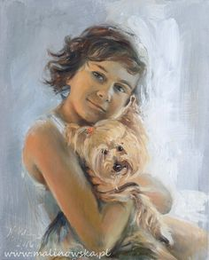 "Monika Malinowska "" Boy with his little dog"" oil portrait on canvas, 43 x 53 cm, 2016"