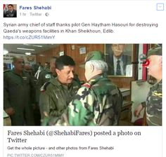 عضو بـمجلس الشعب ينشر صورة الطيار الذي ارتكب مجزرة الكيماوي في خان شيخون.. ويؤكد: القيادة تشكره