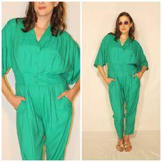 Vintage Jumpsuit 80s Kelly Green Playsuit by PastLivesofNewYork, $45.00