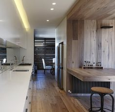 Aged Smoked & Limed floors, walls, ceiling and table!! All by Royal Oak Floors.  www.royaloakfloors.com.au Architecture: Zenibaker Architects