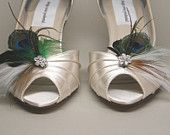 Wedding Shoes -- Ivory Peeptoes with Ivory and Peacock Feather Adornment