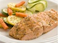 Herb Baked Salmon Recipe Main Dishes with lemon juice, olive oil, garlic and herb seasoning mix, salmon fillets Baked Salmon Recipes, Fish Recipes, Seafood Recipes, Great Recipes, Cooking Recipes, Favorite Recipes, Healthy Recipes, Top Recipes, Cooking Tips