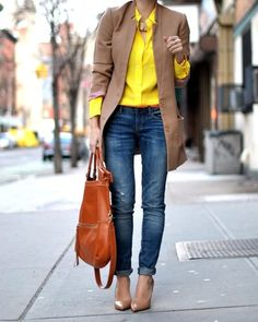 Denim works well with yellow, the blue and yellow together create a split complimentary contrast. Adding an array of neutrals, in nudes, camels and browns softens the contrast