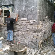 Starting stone work on outside! Stone Masonry, Brick And Stone, Stone Work, Building A Stone Wall, Stone Wall Design, Patio Fence, Backyard Sheds, Natural Building, Shed Design