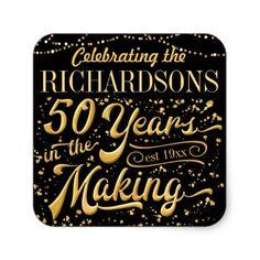 Elegant gold 50th anniversary invitation postcards anniversary celebrating 50 years in the making 50th anniv square sticker stopboris Gallery