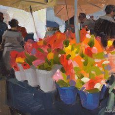 """Farmers Market Flowers"" - Original Fine Art for Sale - © Carol Marine"