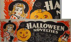 Original Vintage 1950s HALLOWEEN NOVELTIES STORE DISPLAY witch POSTER 3 FEET !!! | eBay