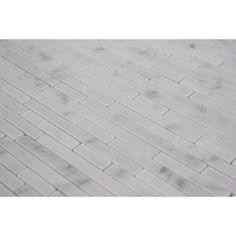 Splashback Tile Windsor 1/4 in. x Random White Carrera Pattern Marble 12 in. x 12 in. x 8 mm Mosaic Floor and Wall Tile-WINDSOR .25 X RANDOM WHITE CARRERA - The Home Depot