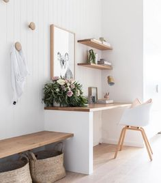 minimalist home office with modern desk and open shelves, vertical white shiplap. - minimalist home office with modern desk and open shelves, vertical white shiplap…- minimalist hom - Home Office Space, Home Office Design, Home Office Decor, Home Decor, Office Ideas, Desk Office, Office Nook, Small Home Interior Design, Hallway Office