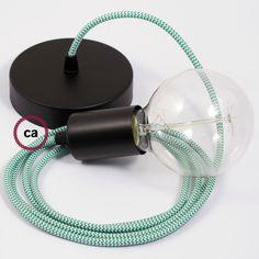 Lampada sospensione, pendel cavo tessile effetto Seta ZigZag Verde RZ06 2mt. Rosone e portalampada metallo Nero.