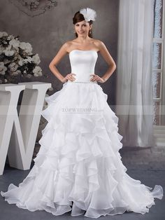 Satin Strapless Wedding Dress with Ruffled Organza Skirt