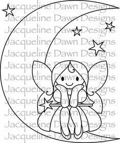 Digital Stamp A Moon and a Fairy van paperaddictions op Etsy Felt Patterns, Applique Patterns, Applique Designs, Embroidery Designs, Tattoo Painting, Digi Stamps, Colouring Pages, Fabric Painting, Hand Embroidery