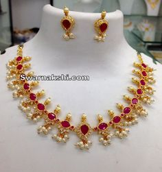 1 gram gold necklace oval model collection - Swarnakshi Jewels And Accessories 1 Gram Gold Jewellery, Gold Jewellery Design, Ruby Necklace Designs, Gold Jewelry Simple, Or Rose, Diamond Necklaces, Gold Necklaces, Pretty Necklaces, Indian Jewelry