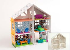 a dollhouse that is made of white heavy duty corrugated cardboard that ships to you flat; you decorate it & comes with idea on how to decorate & make items for it from stuff you already have! how awesome is this? $19.99