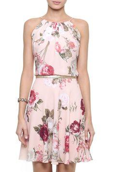 Vestido Crepe Floral Leila
