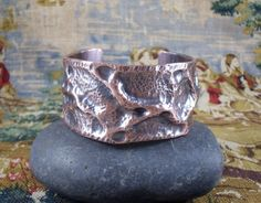 Organic Textured Copper Cuff Bracelet by KLFStudio on Etsy