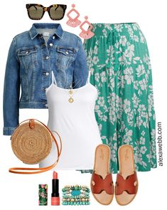This is a cute plus size budget maxi skirt outfit with great finds at great prices including some wide width sandals and rattan crossbody bag. Cute Fall Outfits, Curvy Outfits, Winter Fashion Outfits, Outfits For Teens, Plus Size Outfits, Girl Outfits, Fashion Tips, Look Plus Size, Plus Size Maxi
