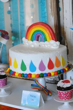 Rainbow + April Showers Birthday Party: The Cake-add food coloring in the batter for get rainbow effect