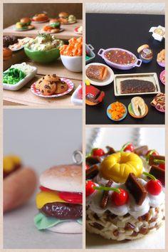 Polymer Clay Food for dolls. Cute Polymer Clay, Polymer Clay Miniatures, Polymer Clay Charms, Polymer Clay Creations, Diy Clay, Clay Crafts, Tiny Food, Fake Food, Minis