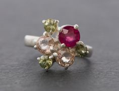 Engagement Ring  Ruby Cluster Ring with Sapphires by williamwhite
