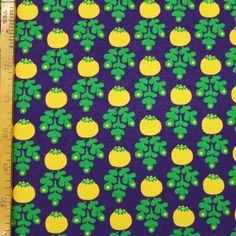 Keltamarja luomujersey Yellowberry organic jersey Design by Leena Renko Organic, Mini, Fabric, Gifts, Curtains, Design, Tejido, Insulated Curtains, Presents