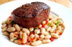 Filet Mignon with White Bean and Rosemary Salad
