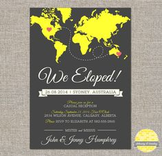 elope announcement and reception invitation - diy printable file by YellowBrickStudio