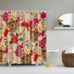 Black Cartoon Skull /& Flowers Design Custom Shower Curtain Polyester Fabric