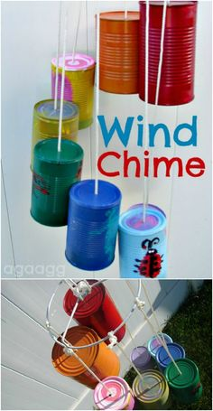 Upcycled Tin Can Wind Chime  ~ a great kid craft to make with my Grandkids! LOVE this one!  Be sure to use rim-cut can opener so there won't be any sharp edges on the cans!