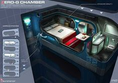 Zero-G Chamber, Neuromancer artwork by Marcel van Vuuren Design… Spaceship Interior, Futuristic Interior, Spaceship Design, Futuristic City, Science Fiction, Space Opera, Cyberpunk City, Sci Fi Environment, Sci Fi Ships