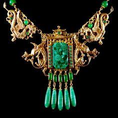 Askew London Jadeite Glass Dragon Gate Necklace Collar | Alexandra May