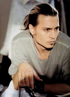 Johnny Depp hair pulled back. Actor, musician, great looking